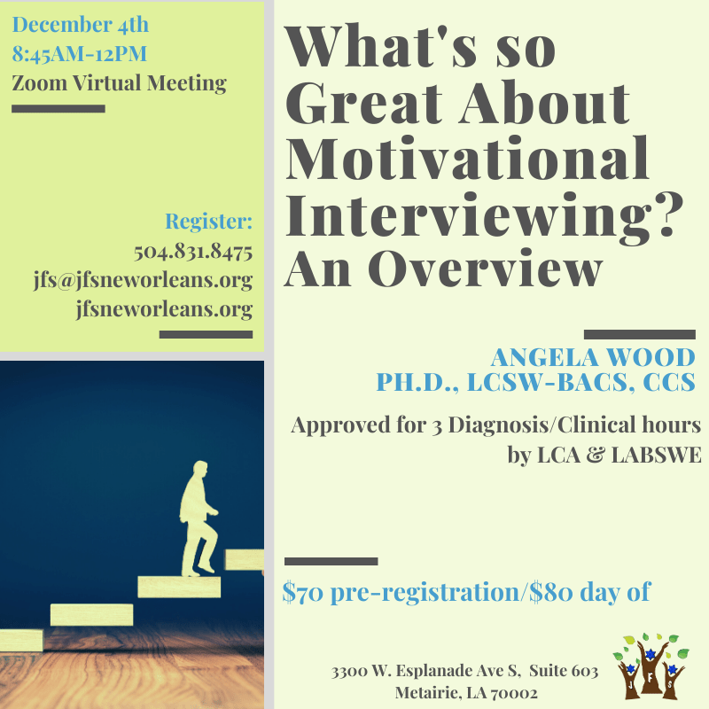 What's so Great About Motivational Interviewing? An Overview with Angela Wood, Ph.D., LCSW-BACS, CCS @ Zoom Virtual Meeting